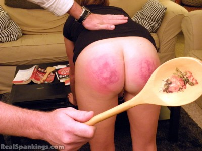 wooden spoon spanking by parent