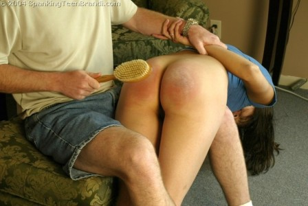 pinned down for my hairbrush spanking from dad