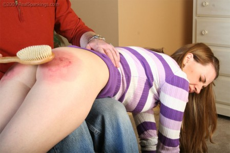 A long and hard hairbrush spanking teaches a real lesson