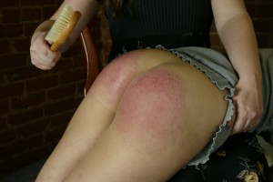 bare bottom OTK hairbrush spanking from mom