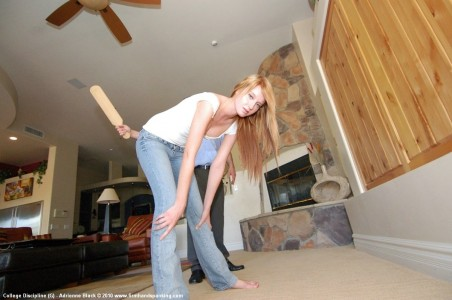 Bending over for her corporal punishment