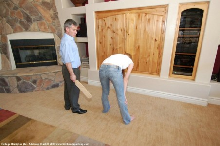 getting paddled by dad in the living room