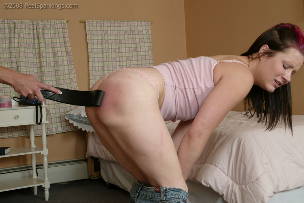 Have busty blond spanks daughter with belt 4884