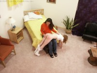 teen girl corporal punishment spanking otk from mom