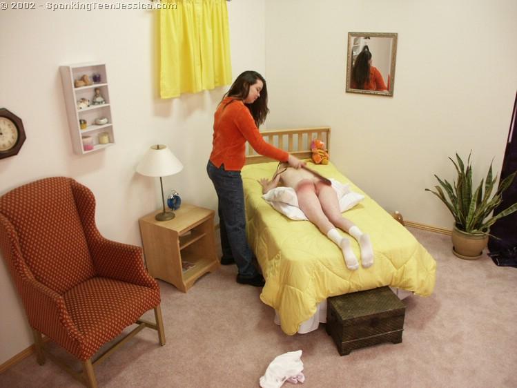Teen girl spanked in