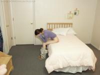teen girl waits for her bare bottom spanking
