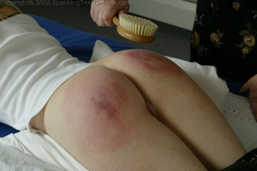 severe hair brush spanking from mom